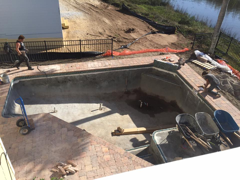 custom pool in St Augustine almost done