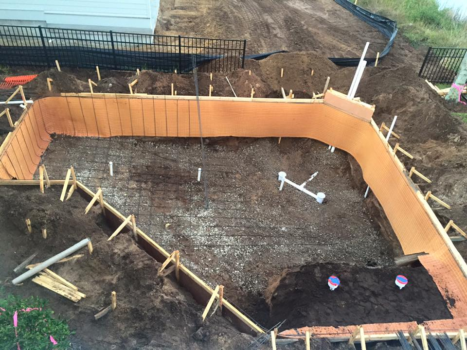 Aerial view of construction site for new pool in St Augustine
