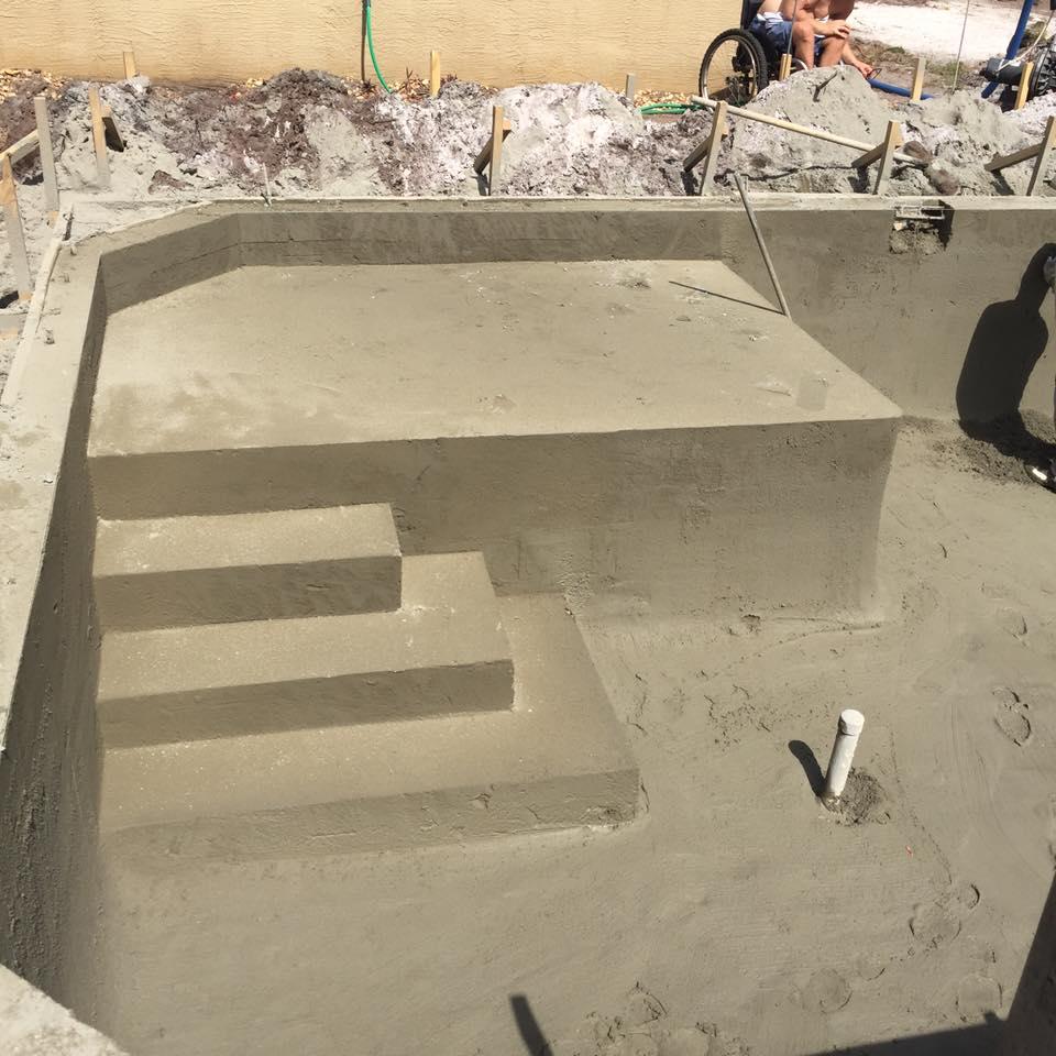 Concrete sun shelf and steps