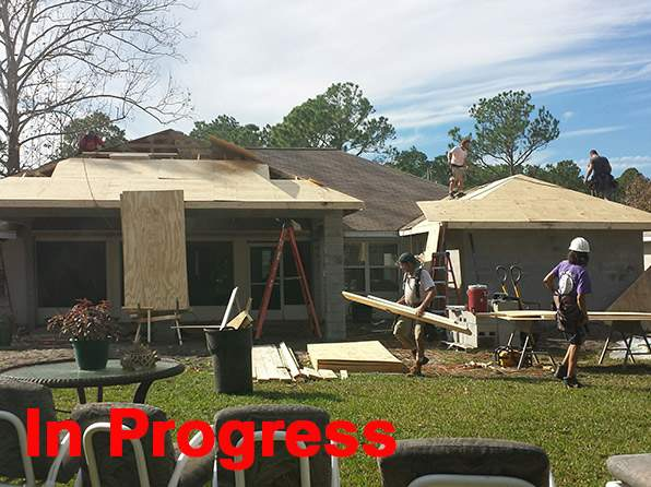 Rear of house during construction.